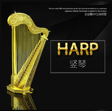 Harp model Gold silver color 3D DIY laser cutting musical instrument model educational diy toys Jigsaw Puzzle best gifts DIY fun(China (Mainland))