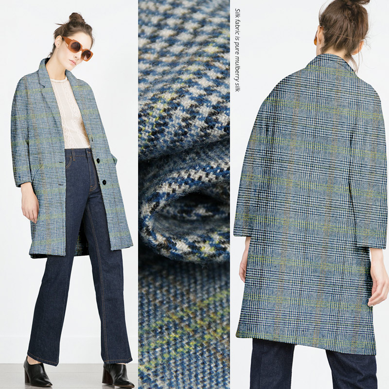 Modern vogue plaid wool fabric for dressmaking clothes clothing