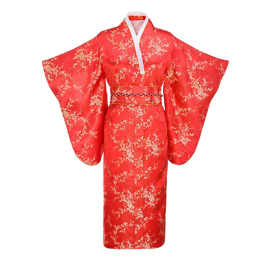 Red Japanese Women Traditional Kimono With Obi Vintage Evening Dress Performance Dance Dress Cosplay Costume One sizeОдежда и ак�е��уары<br><br><br>Aliexpress