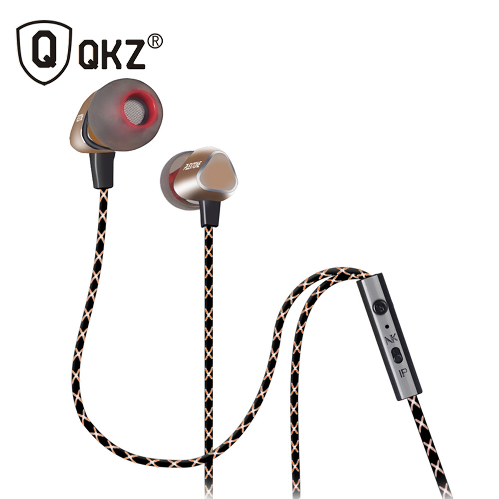 QKZ X36M Enthusiast Bass Ear Headphones Copper Forging 7MM Shocking Antinoise Earphone With Microphone Sound Quality Gold plated(China (Mainland))