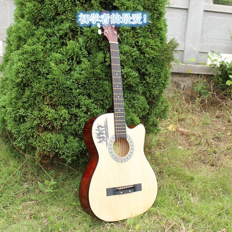 Здесь можно купить  Wholesale high quality acoustic guitar, 38 inches six string log color, coffee color, straps and dial the gifts  Спорт и развлечения