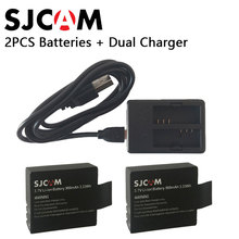 2PCS SJ4000 Battery Rechargable Battery + Dual Charger For SJCAM SJ4000 SJ5000 SJ5000X WIFI pLUS sport Action Camera Accessories