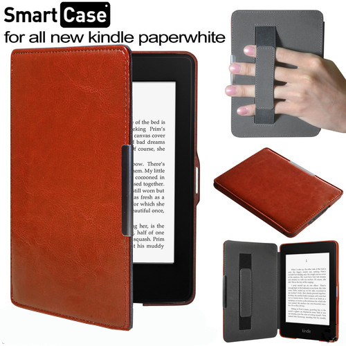 High Quality PU Smart Leather case funda Cover Skin for new Amazon Kindle Paperwhite 1 2 2nd 2013 with hand strap 50pcs/lot(China (Mainland))