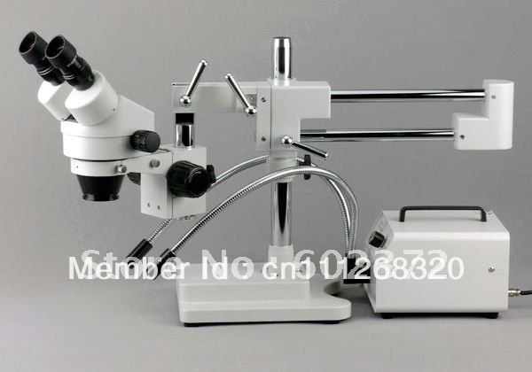 FREE SHIPPING ! 3.5X-90X! DOUBLE BOOM STAND  BINOCULAR  STEREO ZOOM MICROSCOPE +FIBER LIGHT<br><br>Aliexpress