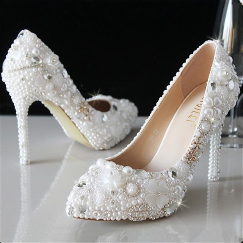 Crystal shoes wedding shoes pearl bridal shoes rhinestone handmade shoes white thin heels high-heeled pointed toe