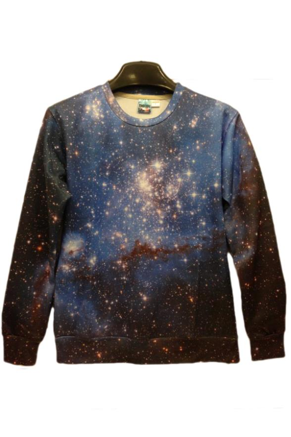 2015 New Fashion Pullover Dark Galaxy Print Blue 3D Design sweatshirt Hoodies Fast Delivery(China (Mainland))