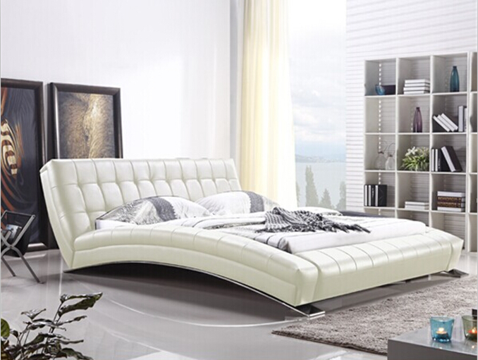 King bed furniture Modern bedroom furniture with long sheet stainless steel leg Beige(China (Mainland))