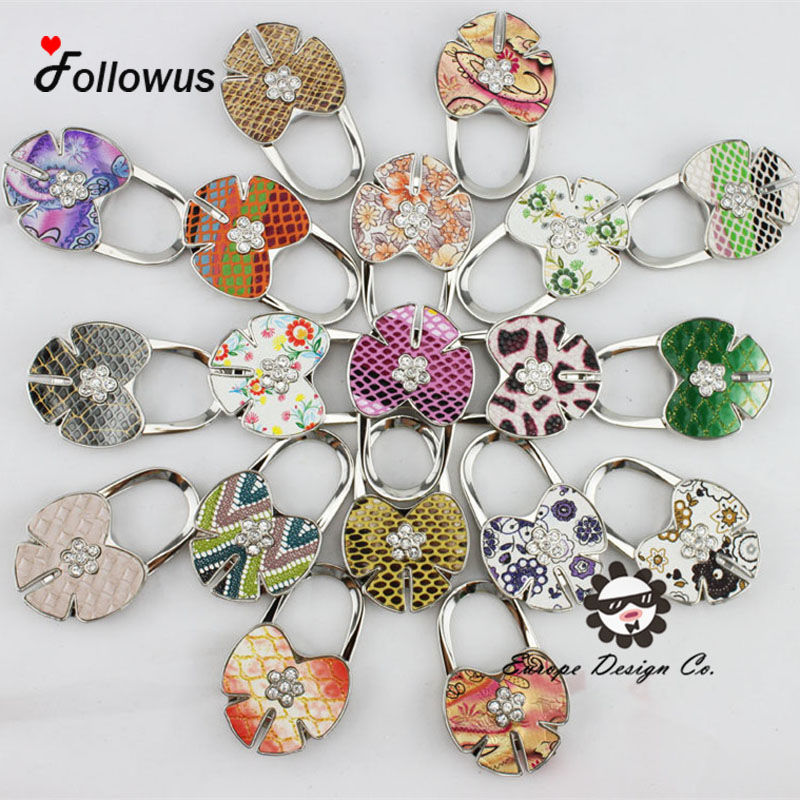19pcs colors Portable Folding Crystal Alloy Purse Handbag Hook Hanger Bag Holder Worldwide Wholesale Butterfly Gift Floral(China (Mainland))