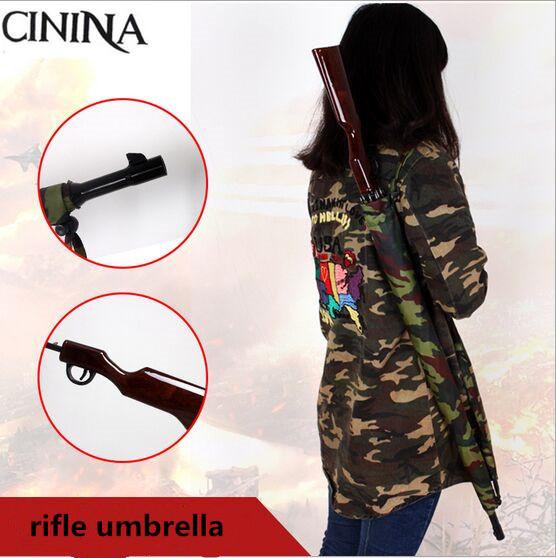 High quality Camouflage Soldier rifle umbrella Straight handle Long pole Automatic umbrella Large gift sunny umbrella(China (Mainland))