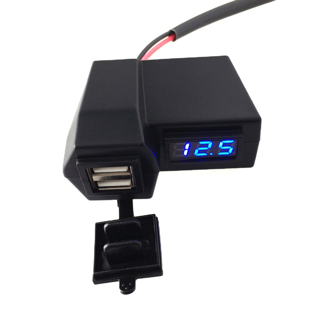 3.1A Car Motorcycle Voltmeter Thermometer Digital LED Auto Car USB Charger Temperature Meter Voltmeter top quality<br><br>Aliexpress