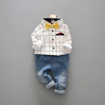 handsome Boy's clothing sets Kids suit sets autumn Children set cotton long sleeve dress shirts+bow tie+trousers/jeans 3pcs suit