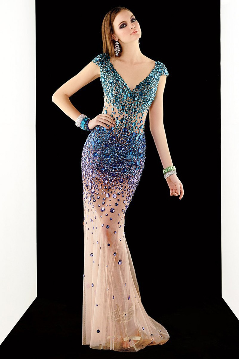 New Arrival 2016 Sheath Floor Length Prom Dresses Party Gown With Crystal Tulle V-Neck Long Sexy Formal Dresses 2016(China (Mainland))