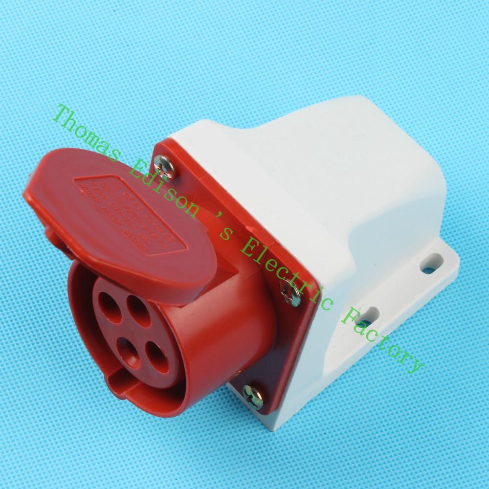 Industrial Socket Plug Coupler 114 CNQD-114 Red 16A 220V~415V 3P+E 4pin 60PCS/carton<br><br>Aliexpress