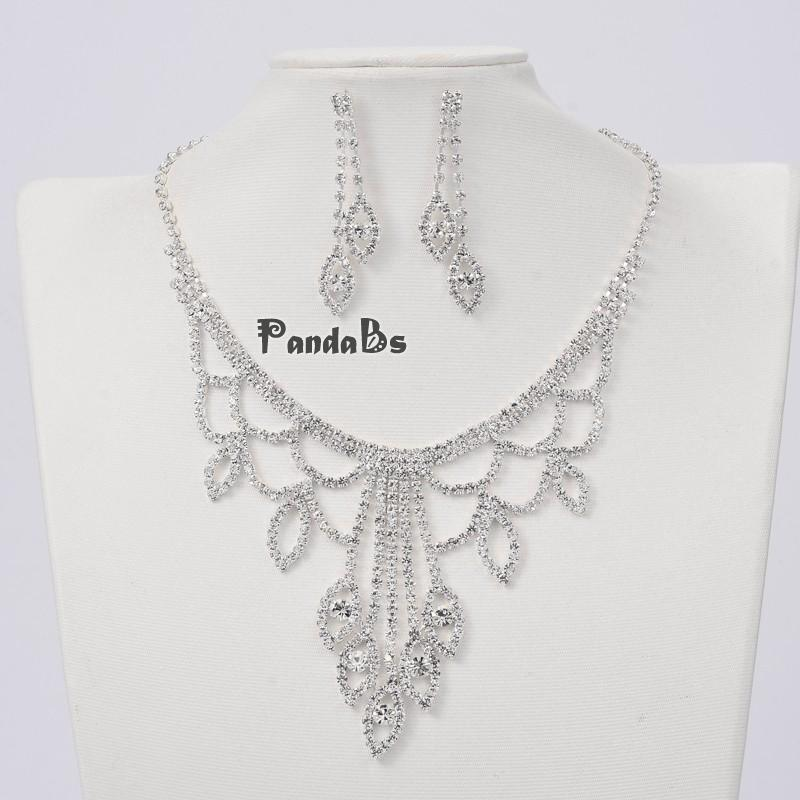 Silver Tone Brass Rhinestone Cup Chain Wedding Jewelry Sets, Bib Necklace and Stud Earring, with Alloy Lobster Claw Clasps and(China (Mainland))