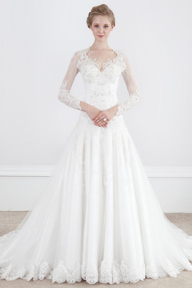 Long Sleeve Wedding Dress Affordable : Vintage wedding dress lace long sleeves a line bridal gown affordable