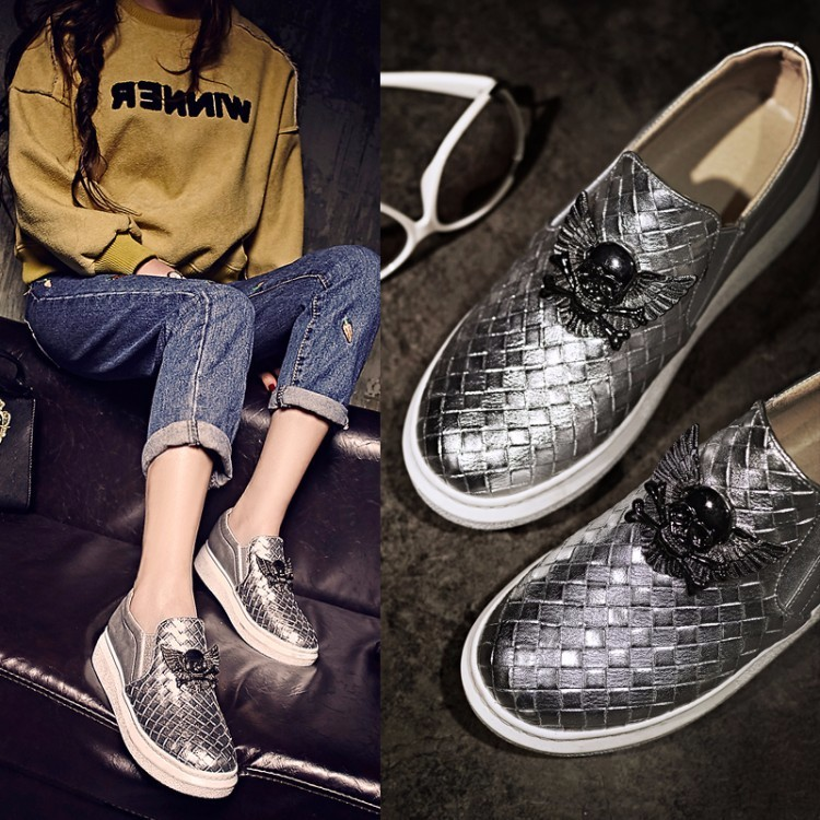 2016 New Fall Fashion Metal Rock Style Women Casual Shoes a Pedal Lazy Platform Loafers Flat Single Shoes Plus Size 40-43 ZM3.0