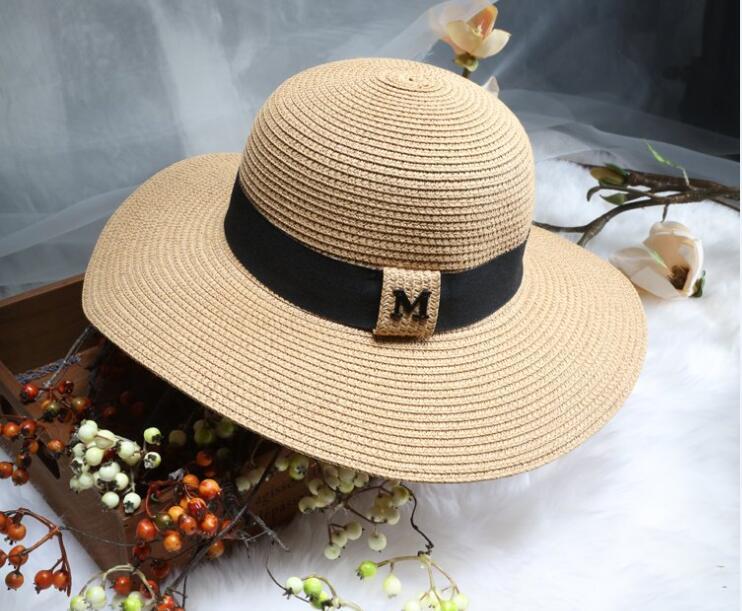 2017 M letter Seaeside sun visor hat female summer sun hats for women large brimmed straw sun hat folding beach girls wholesale