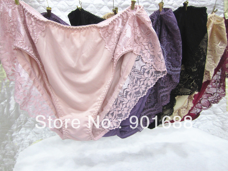 New Large size women's lady sexy high waist lace cotton panties panty underwear briefs for women(China (Mainland))