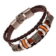 Handmade Retro PU Leather Woven Charm Bracelet Men Women Vintage Braided Bracelets Bangles Male Female Jewelry