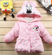 Hot sale! Winter cotton Girls Children's coat Kids clothes Baby Dot Minnie thick coat lovely girl coat 2 style baby(China (Mainland))
