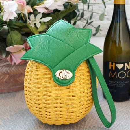 2016 new women's summer rustic pineapple one shoulder cross-body bag woven straw bag beach bag()