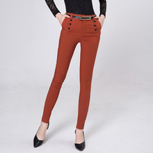 High Quality Women Clothing Pants Skinny OL Office Lady Spring Autumn Full Length Pencil Mid Waist Button Trousers Female Y207(China (Mainland))
