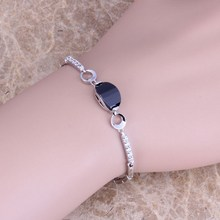 Uncommon Black Sapphire White Topaz 925 Sterling Silver Overlay Hyperlink Chain Bracelet 7 inch Free Delivery & Jewellery Bag S0343