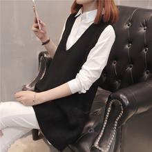 중간 긴 니트 조끼 여성 v-넥 민소매 스웨터 여성 느슨한 대형 2019 봄 가을 새로운 풀오버 조끼 lq654(China)