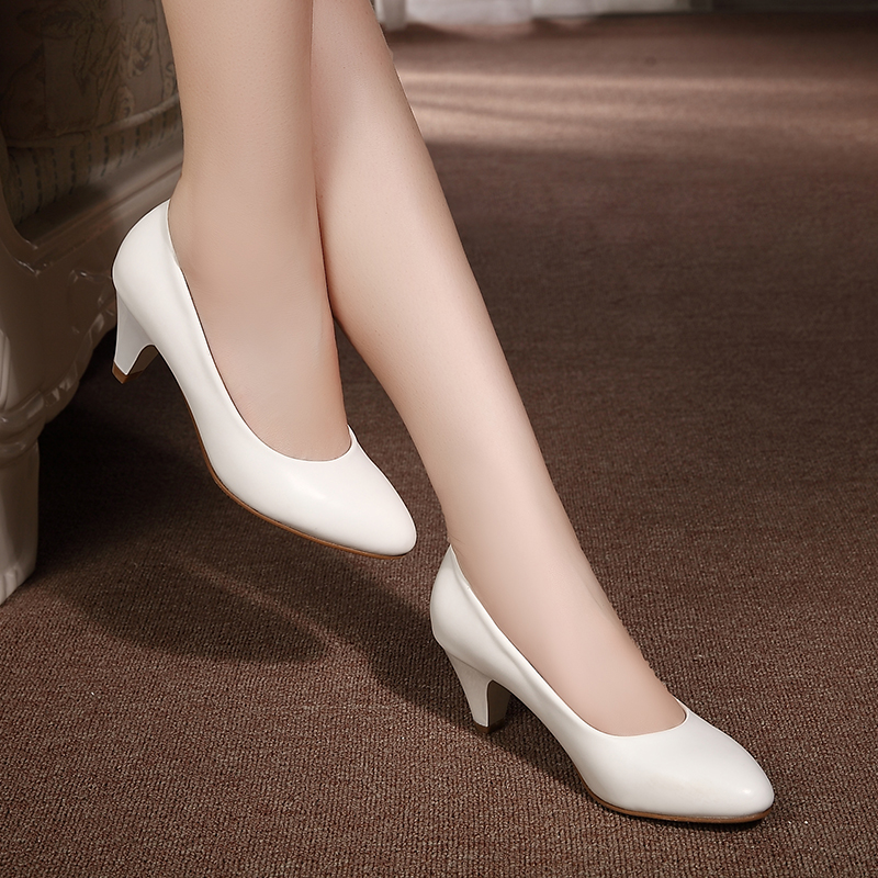 Women's Leather Med Heels New Shoes Classic Black&White Pumps Shoes For Office Ladies Shoes