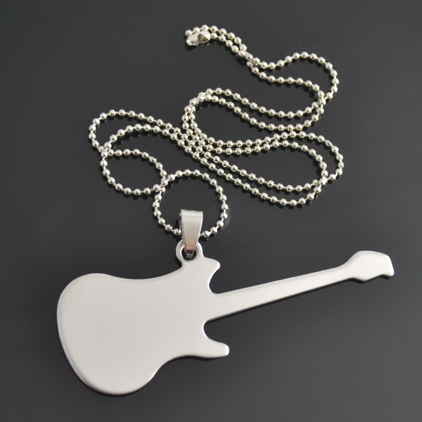 30pcs/lot stainless steel can be engraved guitar musical gift ball chain necklaces(China (Mainland))