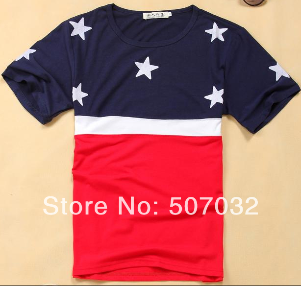 Flag Star USA flag t-shirt splice slpit joint layer hunting custom latex vintage grey red tattoo man discount t shirt(China (Mainland))