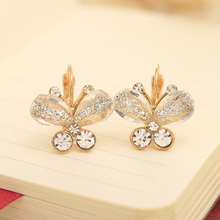 E10 Free shipping mix wholesale 2014 new Fashion Korea Style Wings Rhinestones cute Purple Bow Butterfly Earrings for women 5g(China (Mainland))