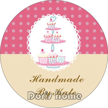 Free Shipping New Customize Adhesive Cupcakes Sticker / Label for Wedding / Baby Shower 3cm, D7(China (Mainland))