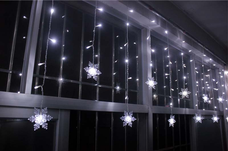 3.5M 100SMD 16P Snowflake LED Curtain String Lights Lamp New Year Garden Christmas Wedding Party ...