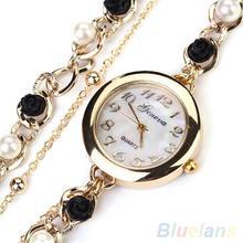 Women's Geneva Luxury Faux Pearl Flower Bracelet Quartz Analog Dress Wrist Watch 1UAM