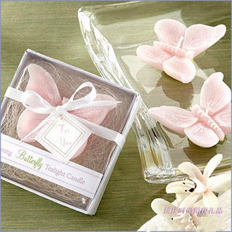 Free Shipping 20pcs/lot Pink Butterfly Candle Wedding Favors Gift Party Baby Shower Candle Gift(China (Mainland))