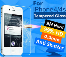4x FOR IPHONE 4S PREMIUM TEMPERED GLASS SCREEN PROTECTOR 0.3MM 9H 2.5D TOUGHENED GLASS FOIL FOR IPHONE 4 4S FILM COVER