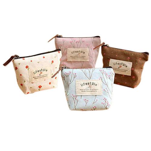 Women's Fashion Small Canvas Coin Purse Zip Wallet Coin Key Holder Case Bag Handbag Retail/Wholesale(China (Mainland))