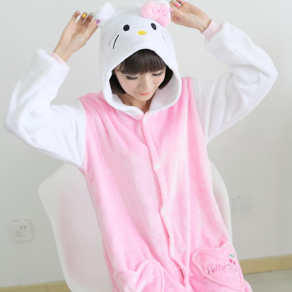 2015 Winter flannels tracksuit cartoon Kitty animal piece pajamas(China (Mainland))