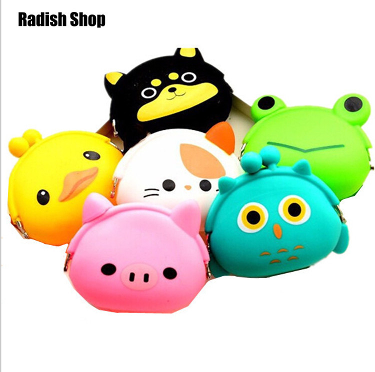 women fashion brand baby girls coin purses cats cute animal coin purses prints silicone bag small wallets children owl coin bank(China (Mainland))