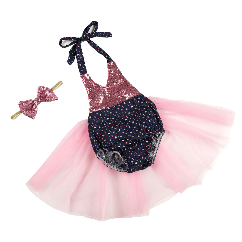 New Summer Casual Girls Clothing Sets With Bow Headband Baby Girl Clothes sequin romper tutu set Children Clothing Set<br><br>Aliexpress