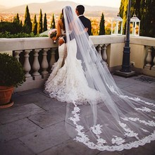 Cathedral Long Train Wedding Veils with Lace Appliques Wedding Accessories Bridal Veils High Quality Handmade Veils(China (Mainland))