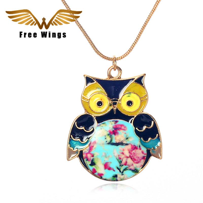 2016 Glaze Color Drops Owl Pendants Fashion Vintage Necklaces Jewelry N027 M/D(China (Mainland))