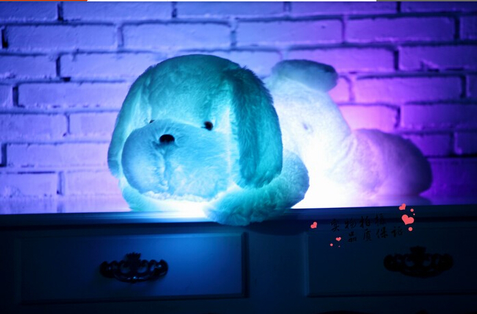 80CM Creative toy Cute Inductive dog nightlight plush toy LED glow pillow soft light up stuff toy dog pet quality(China (Mainland))