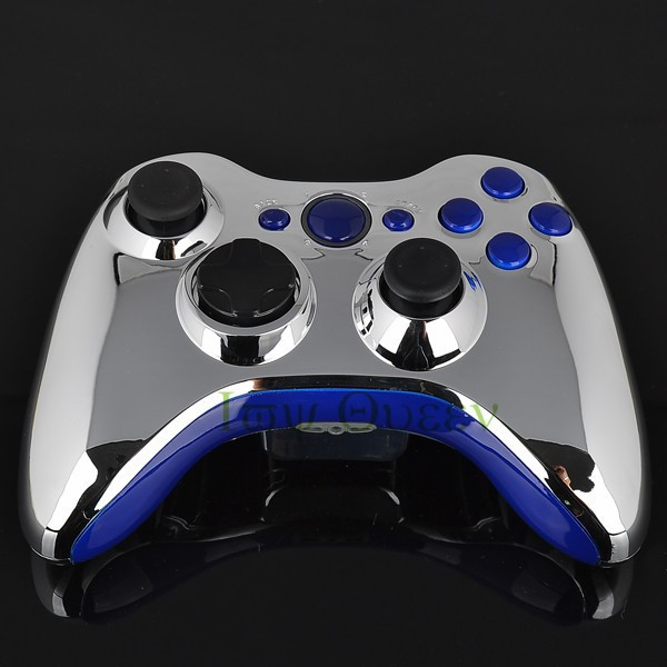 FOR xbox 360 controller chrome silver shell06