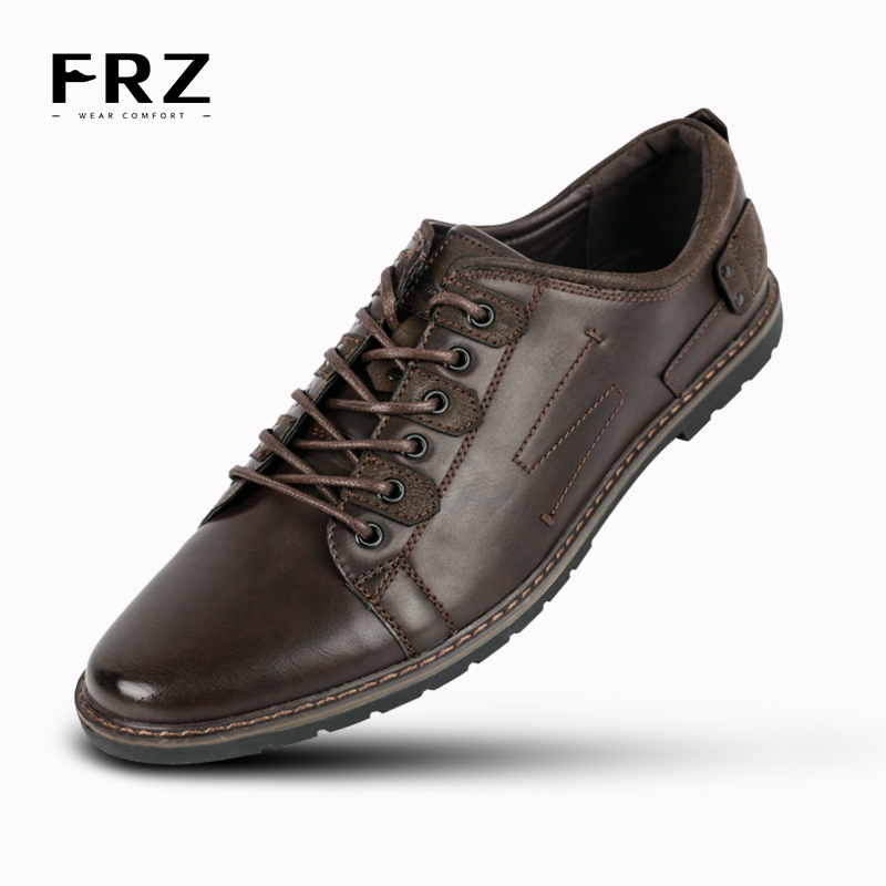 2016 FRZ Brand Men Casual Shoes Leather Leisure Men Flats Shoes Breathable Fashion Oxford Shoes For Men Chaussure HommeYM86818BN