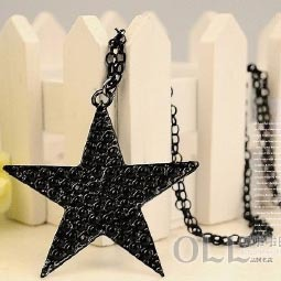 2015 new Fashion Hot-Selling popular attractive lovely black star pendant necklace women jewellery free shipping(China (Mainland))