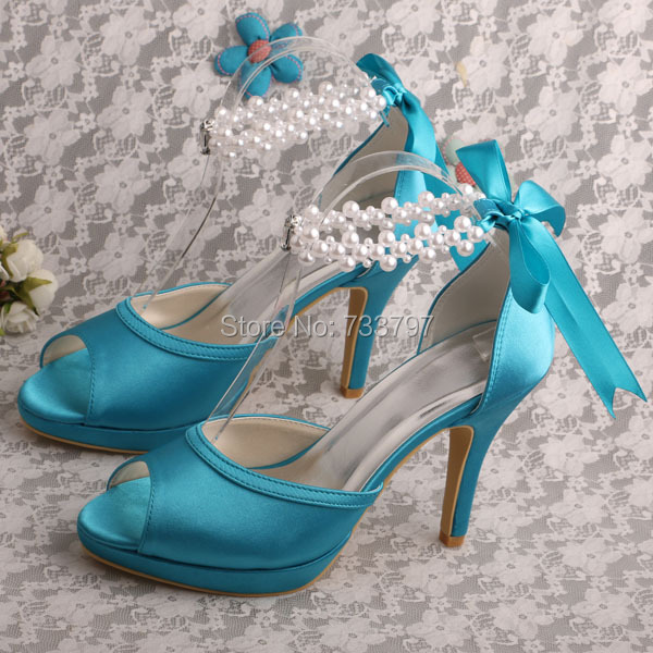 Brand name pearl strap sky blue dress shoes wedding for for Blue shoes for wedding dress