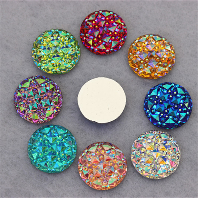 100PCS 16MM Newest AB Color Crystal Acrylic Round flatback Rhinestones Stone Beads Scrapbooking crafts Jewelry Accessories ZZ32(China (Mainland))