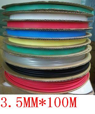 wholesale and retail! 3.5 MM Heat shrinkable tube heat shrink tubing Insulation casing 100m /roll a reel Free Shipping 6 color(China (Mainland))